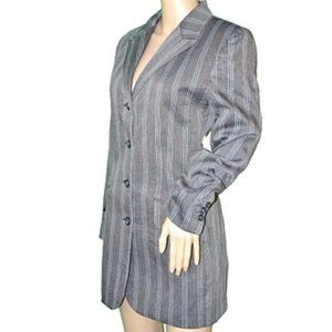 Vintage 80's Pinstripe Long Dress Jacket Blazer 4